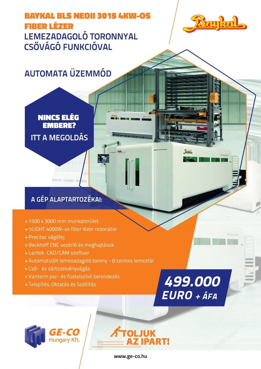 BAYKAL fiber lézersugaras vágógép a GE-CO-tól